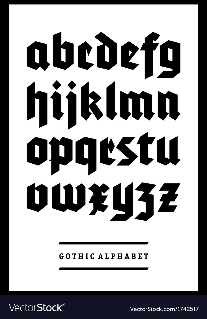 Gothic font alphabet type