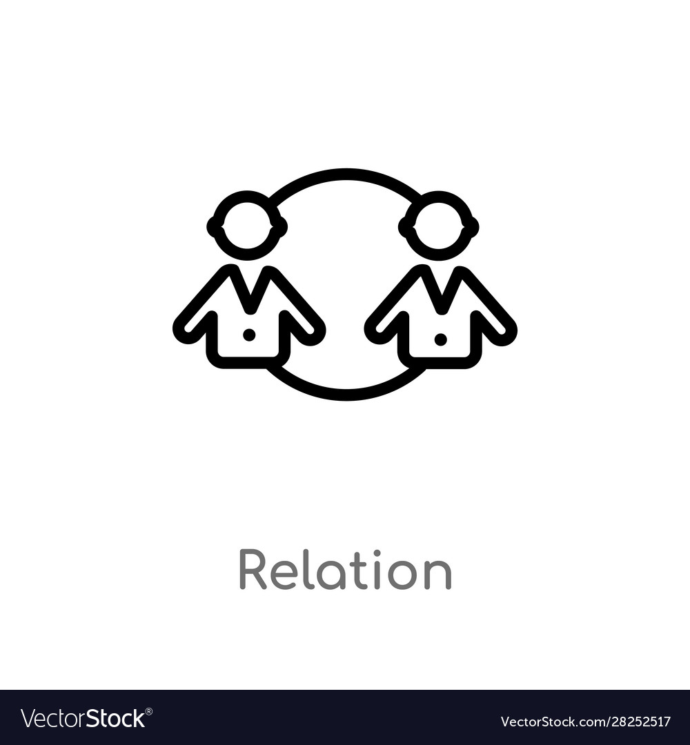 Outline relation icon isolated black simple line