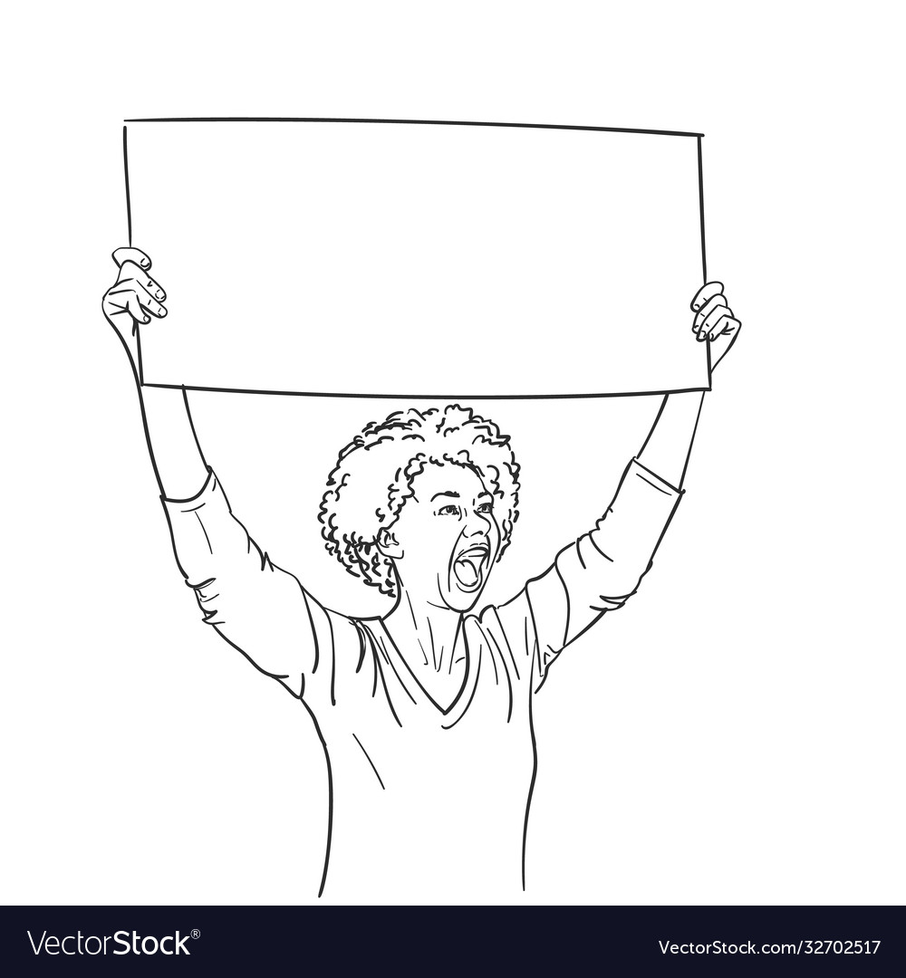 Protest african american woman with empty sign