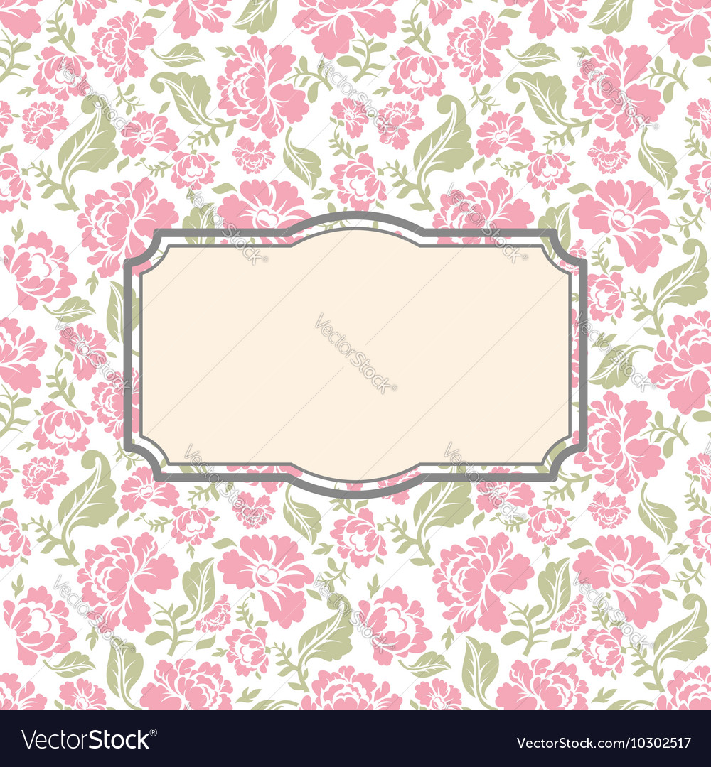 Roses floral card Frame template to text vector image