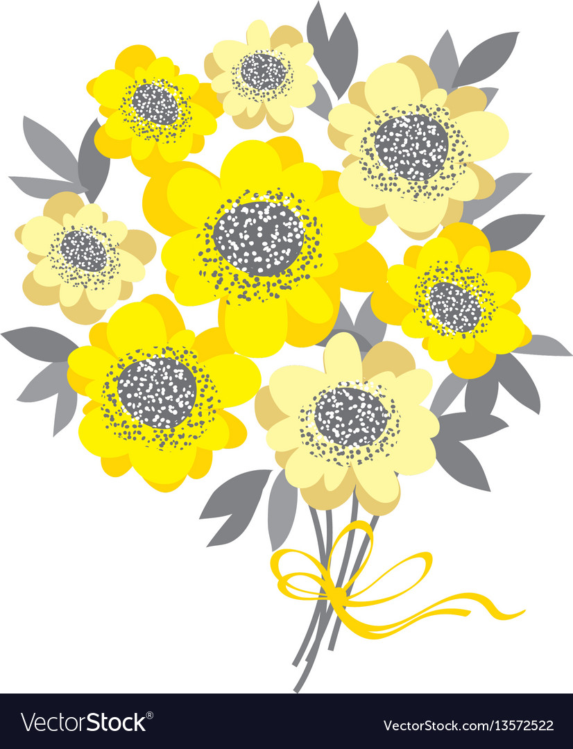 Abstract wedding bouquet with yellow camellia and