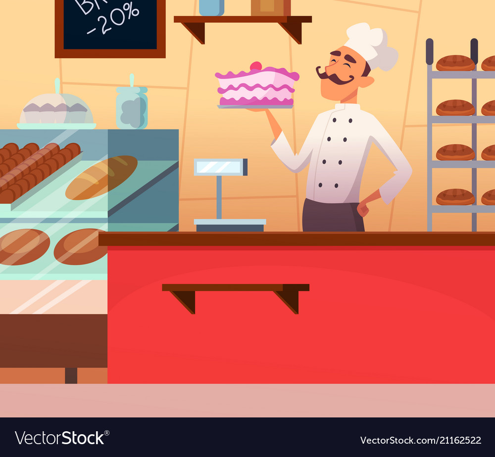 Background of baker male at work