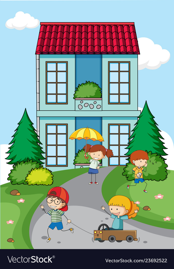 Children playing in front of house