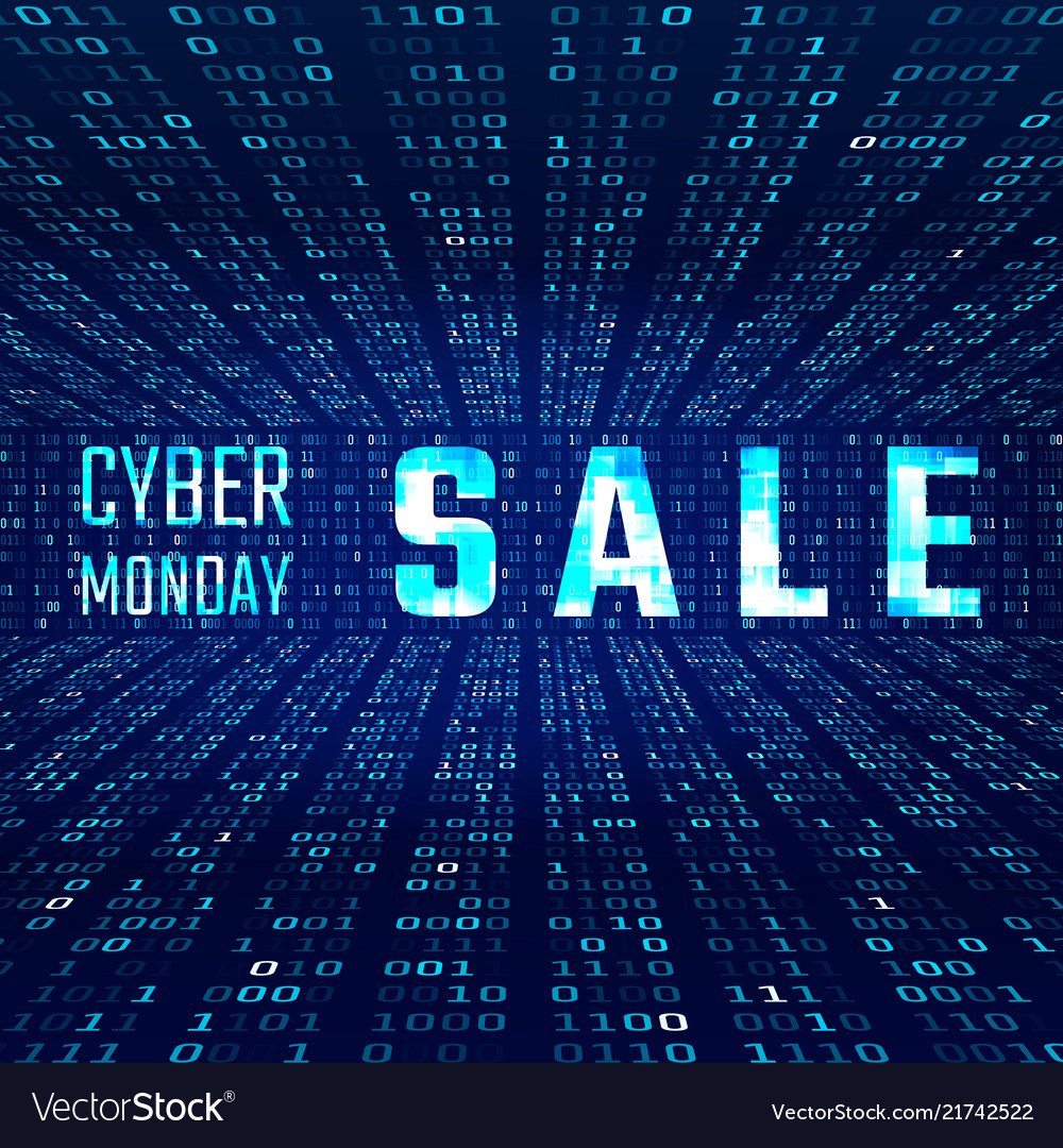 Cyber monday sale banner with glitch effect on