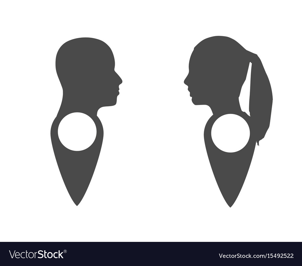 Face silhouette in profile on map pin