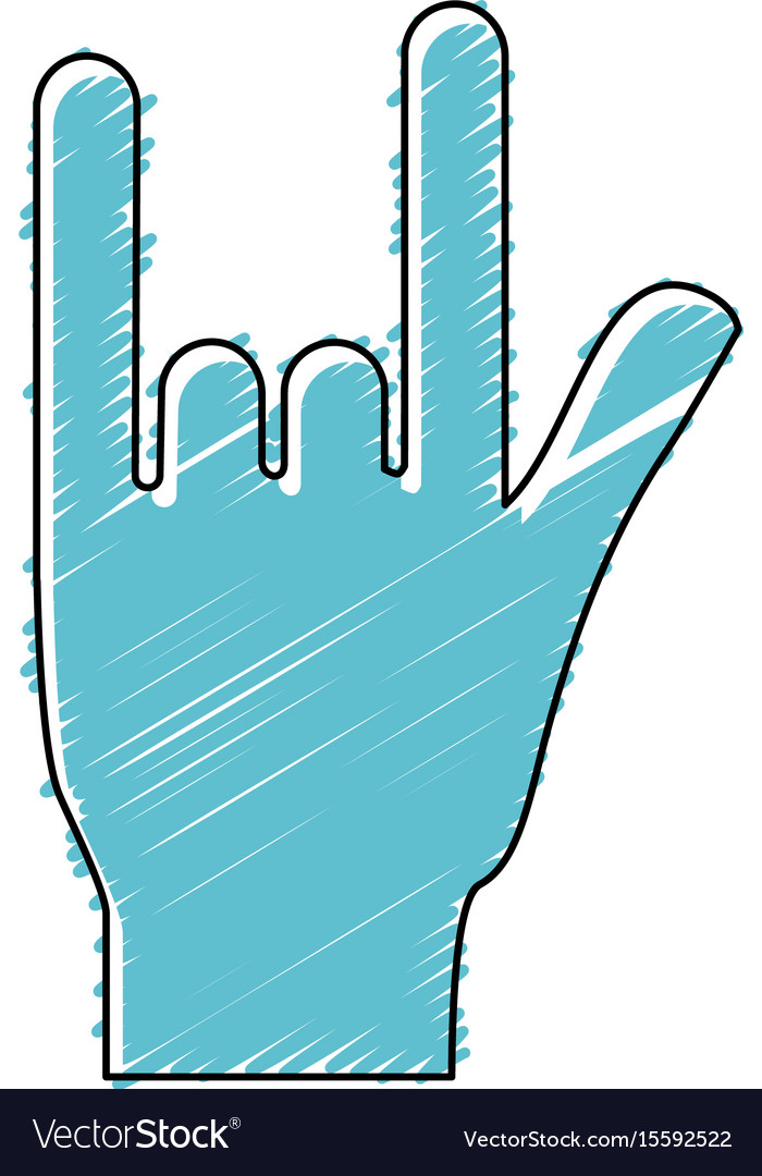 Hand With Rock Symbol And Musical Signals Vector Image