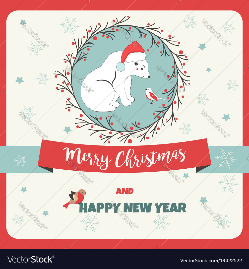 Holiday Greeting Postcard With Polar Bear And Bird