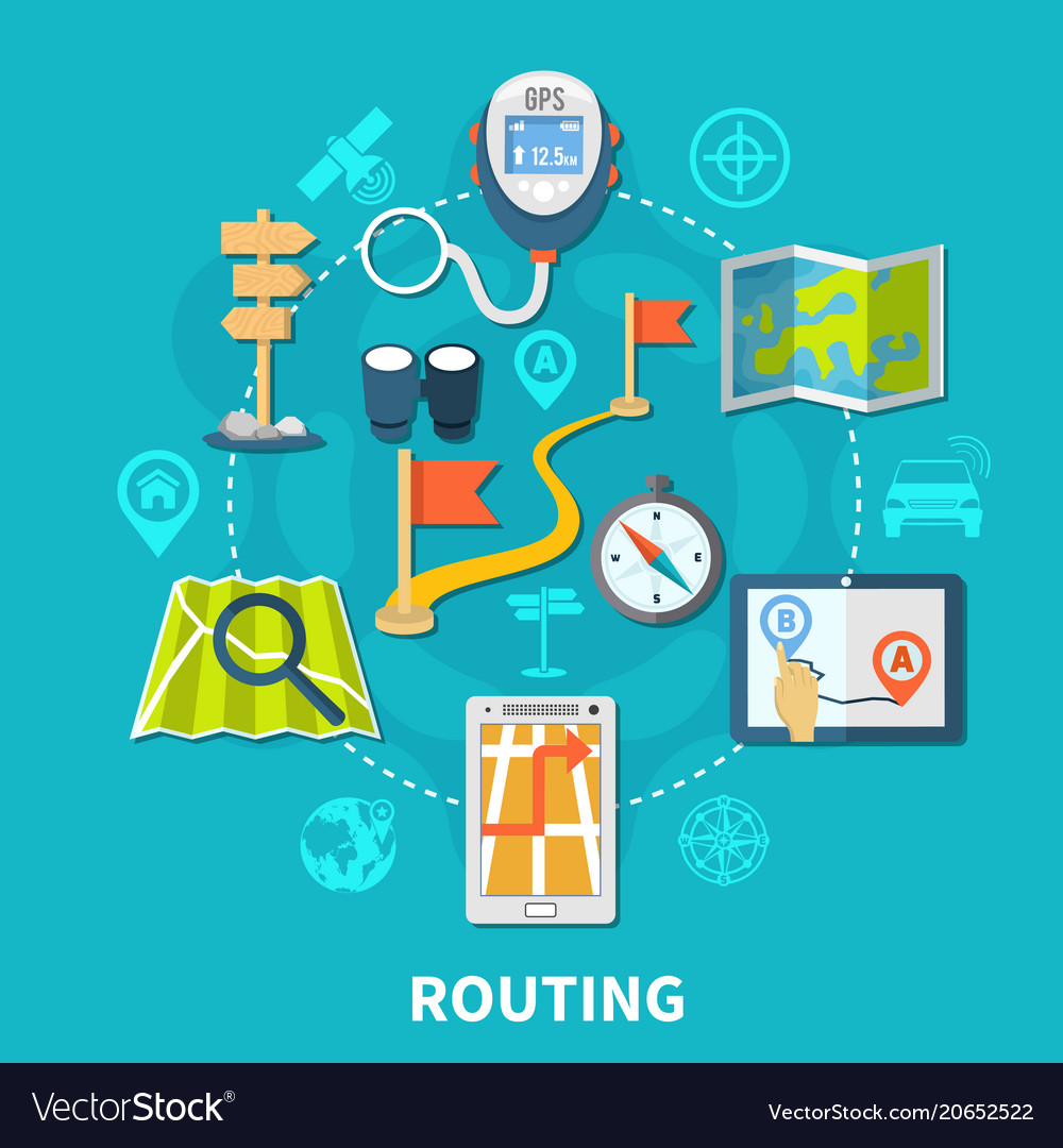 Route navigation round composition vector image