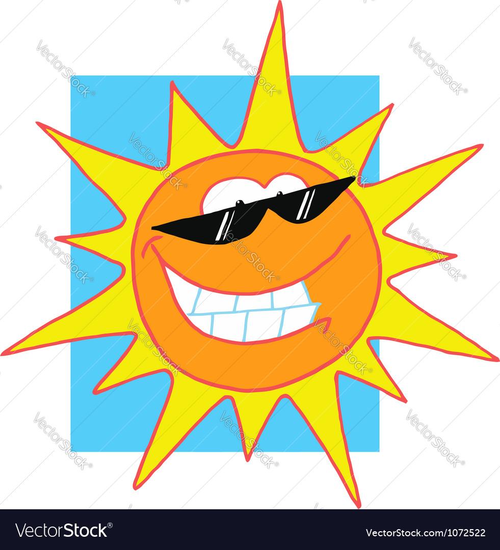 Sun Cartoon Character With Sunglasses vector image