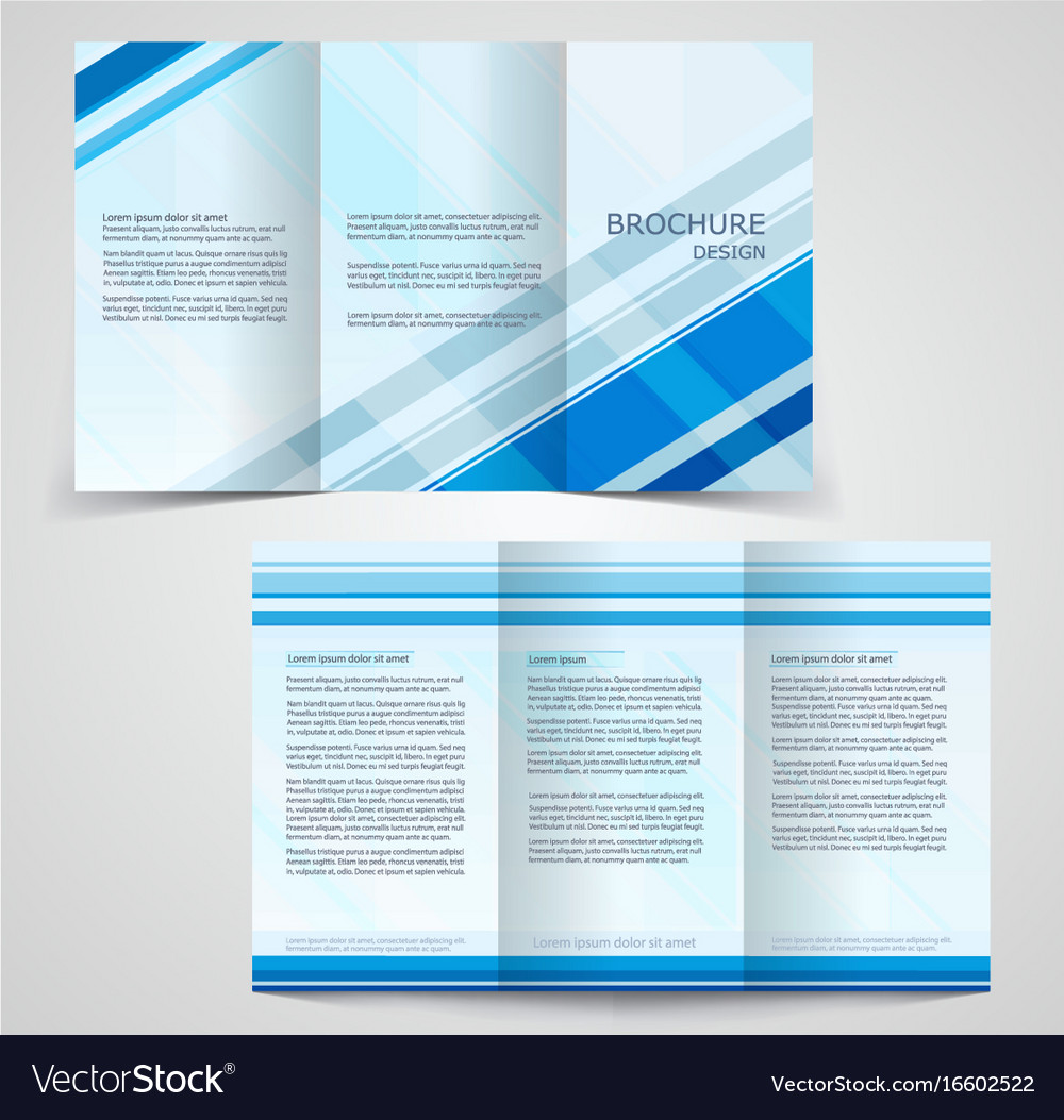 Tri fold business brochure template two sided vector image wajeb Images