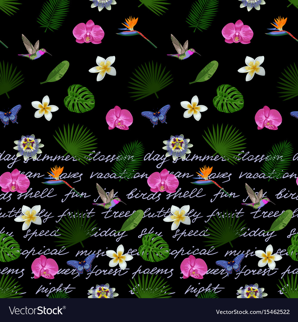 Tropical lettering seamless border