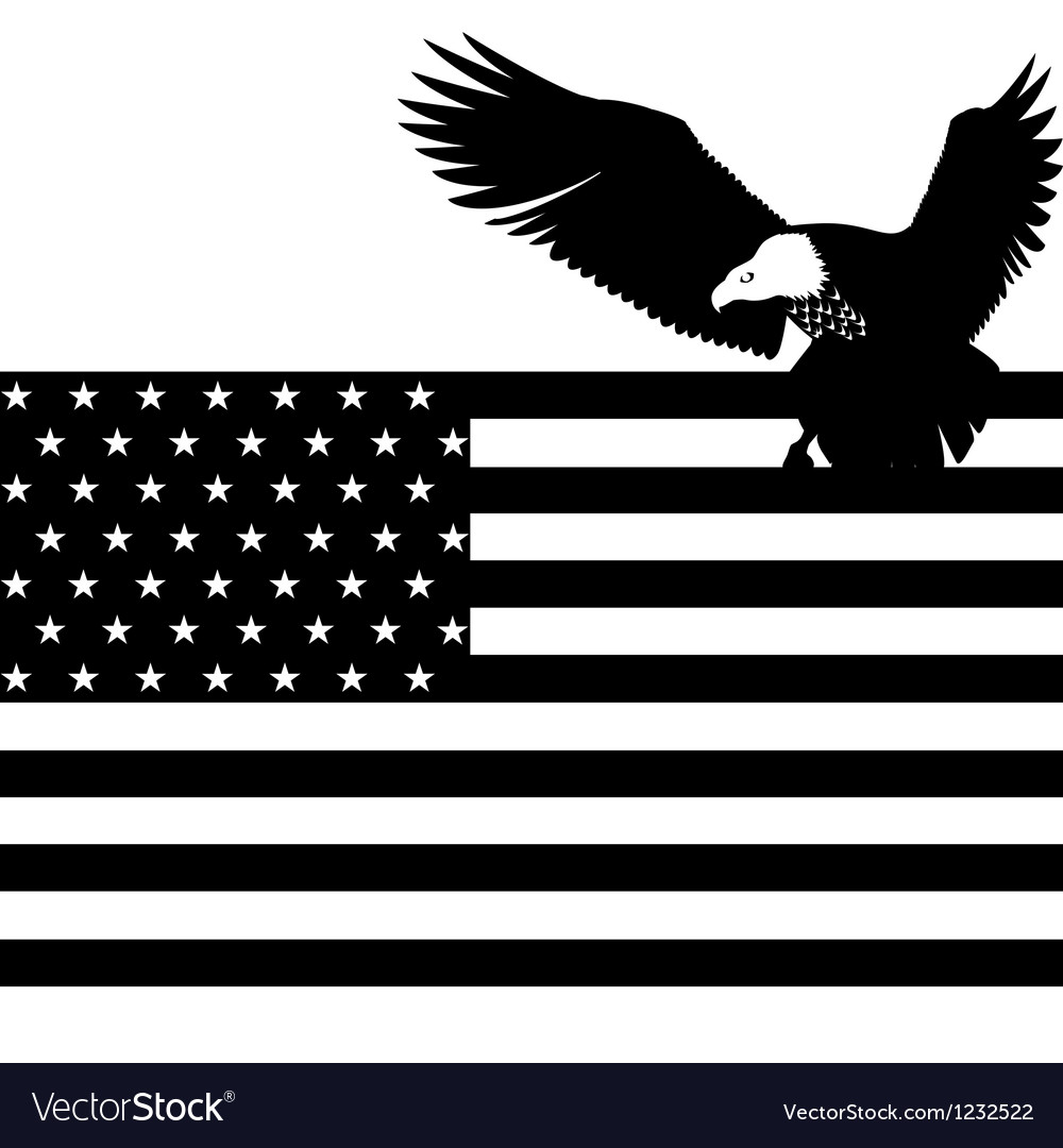 US flag and an eagle vector image