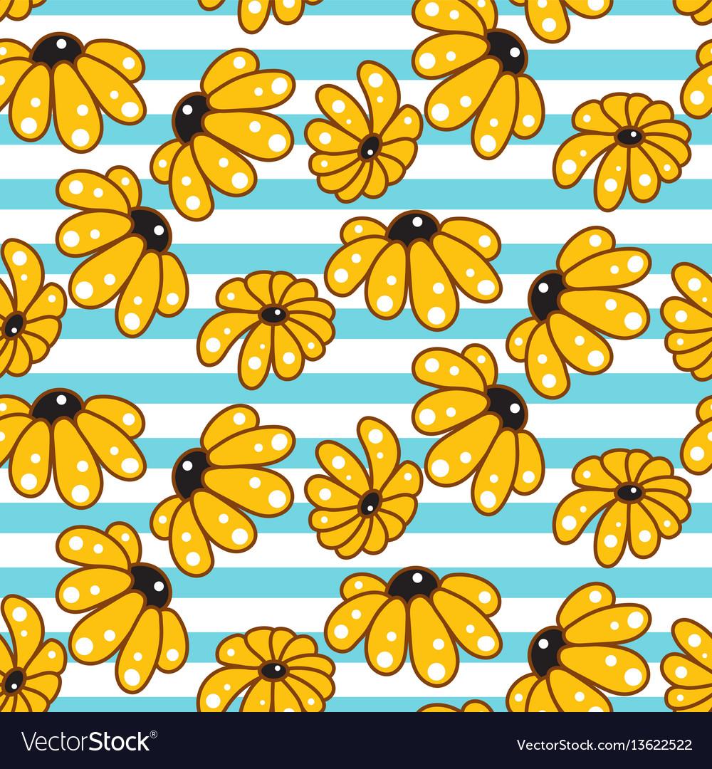 Yellow chamomile striped blue seamless pattern