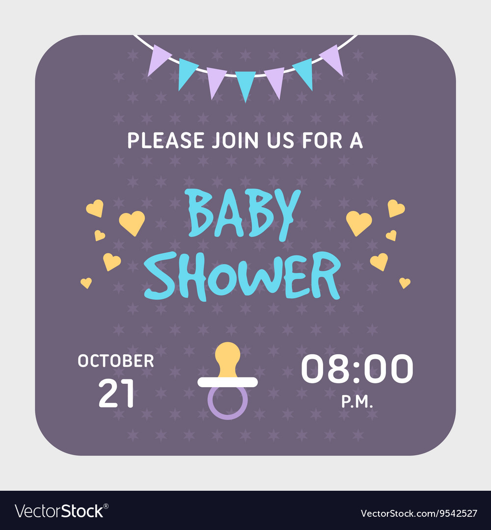 Baby Shower Invitation Card Template Violet