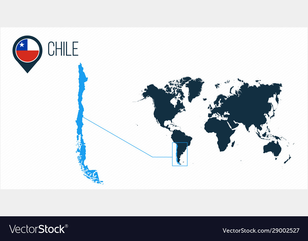 map of the world chile Chile Map Located On A World Map With Flag And Vector Image map of the world chile