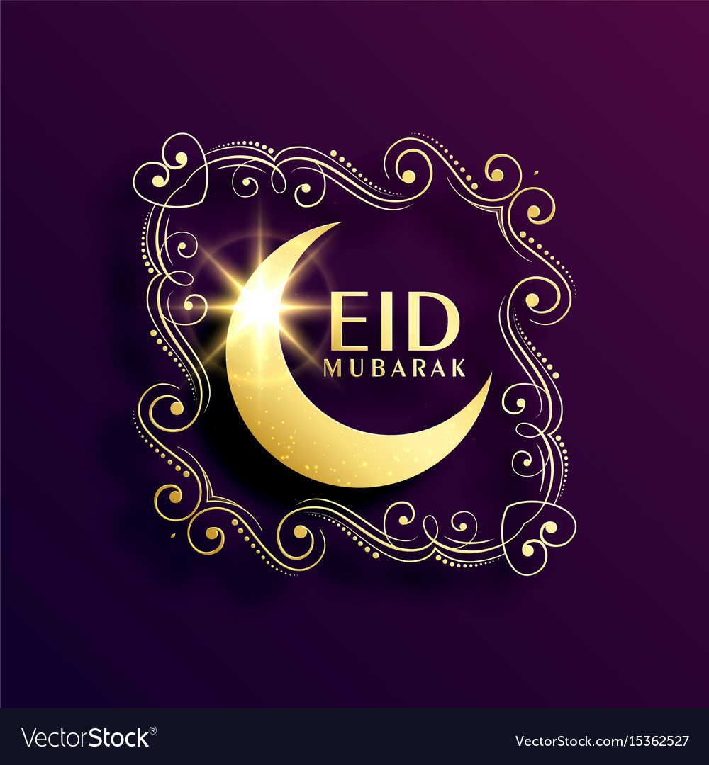 Creative eil mubarak greeting with floral vector image