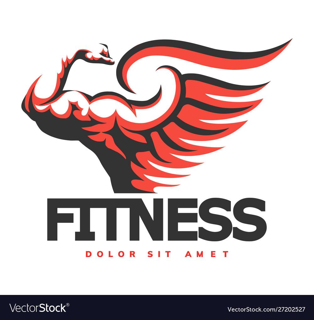 Fitness emblem with bodybuilder hand