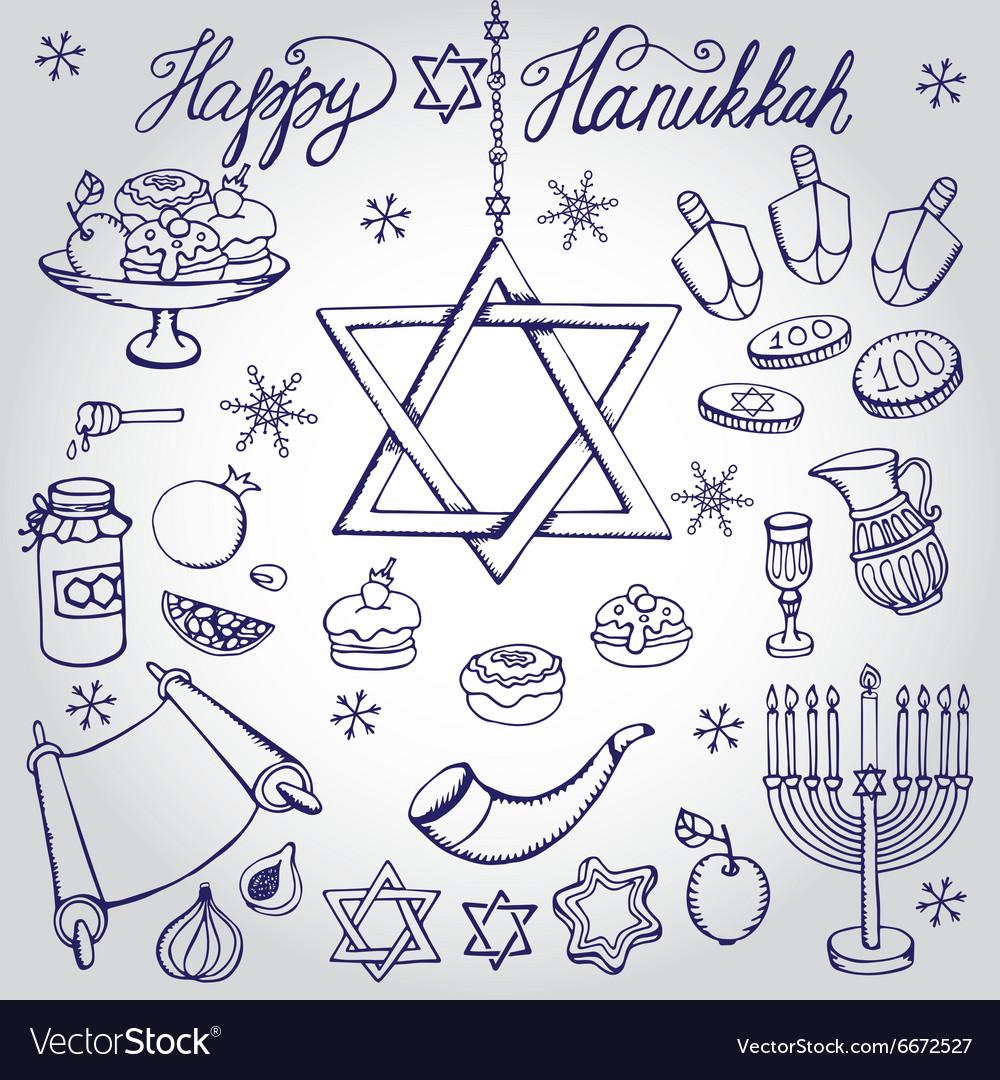 Hanukkah symbolsDoodle linearJewish Holiday set