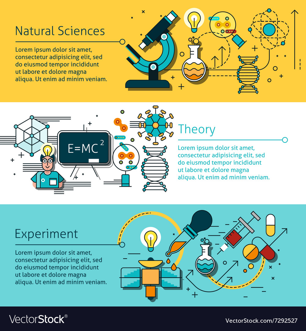 Science Line Banners Set vector image