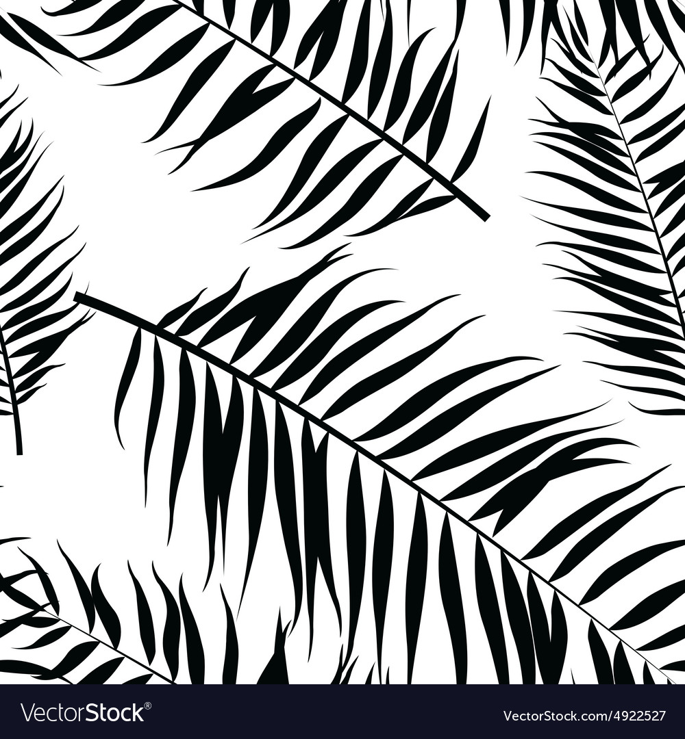 Seamless color palm leaves pattern Flat style