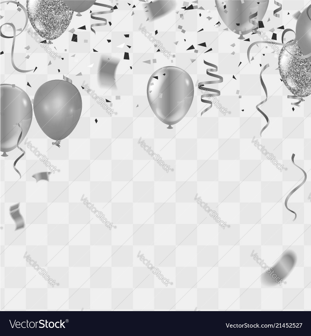 silver balloons confetti and streamers on white vector image