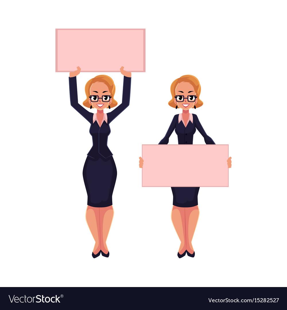 Woman businesswoman on strike holding empty board
