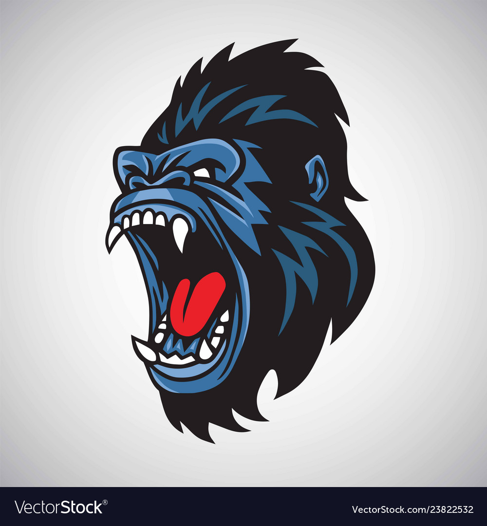 Angry gorilla mascot cartoon logo
