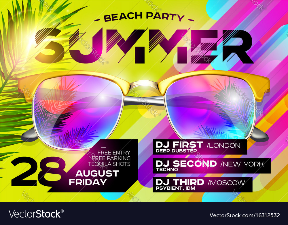 Beach party poster for music festival