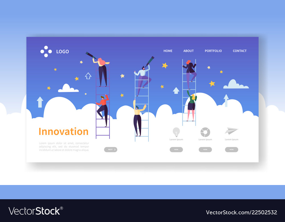 Business innovation landing page business vision