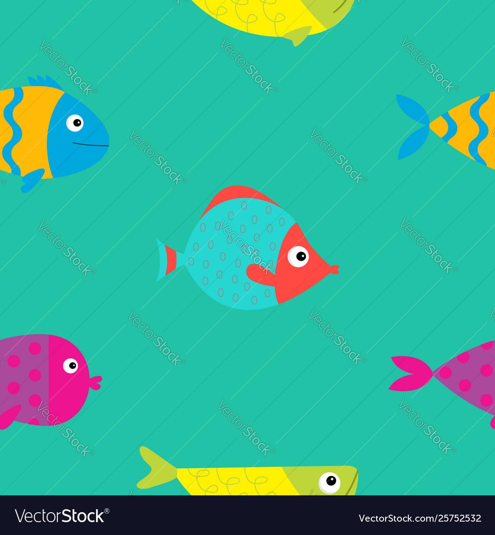 Cute cartoon fish icon set seamless pattern flat