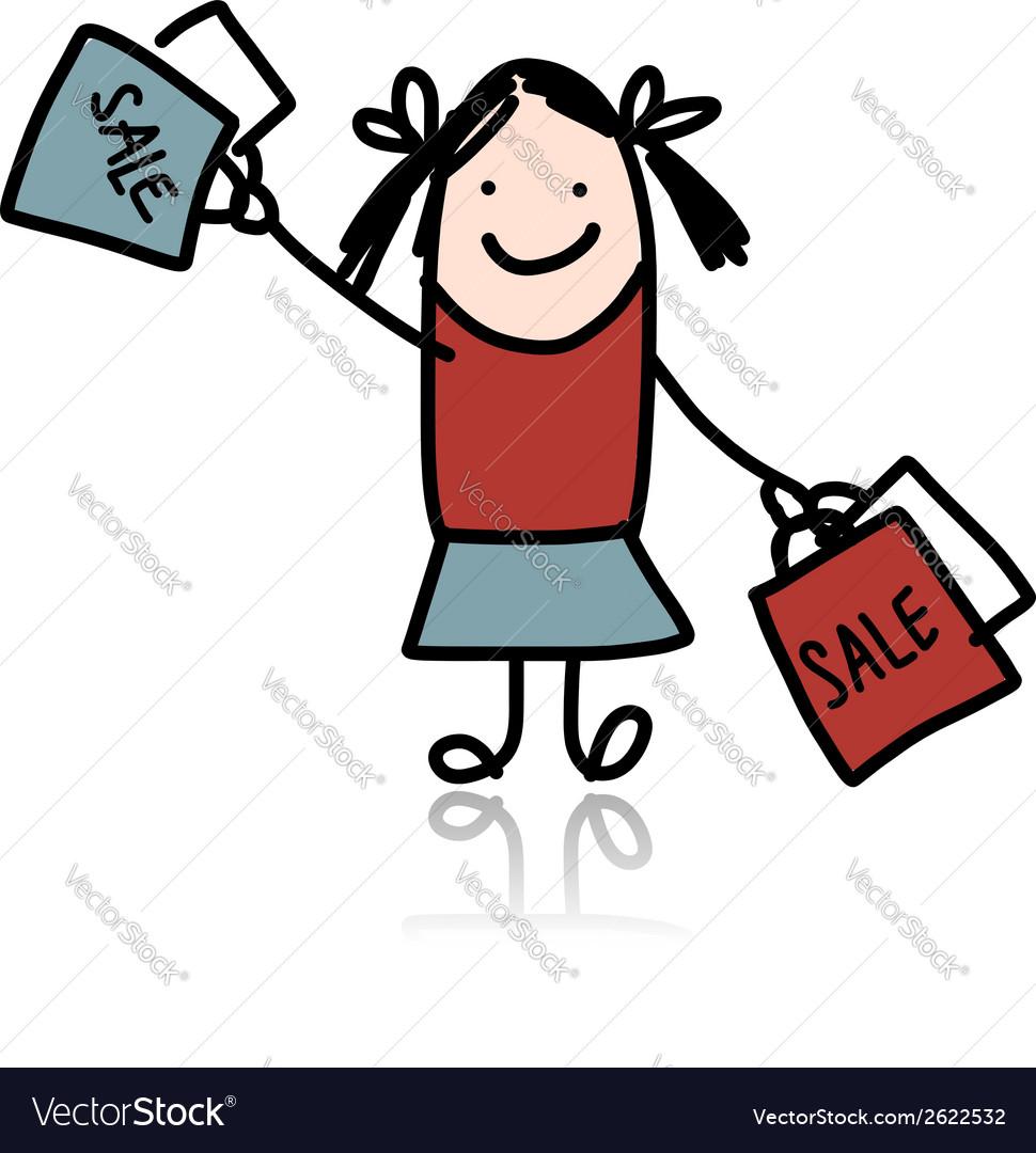 Cute girl with shoppibg bags cartoon for your