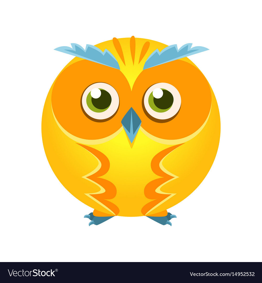 Cute yellow geometric owl bird colorful cartoon
