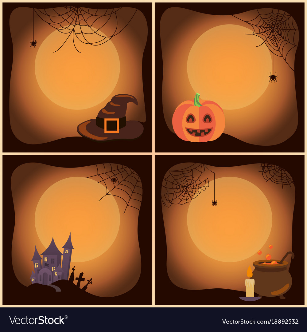 Halloween set of posters on