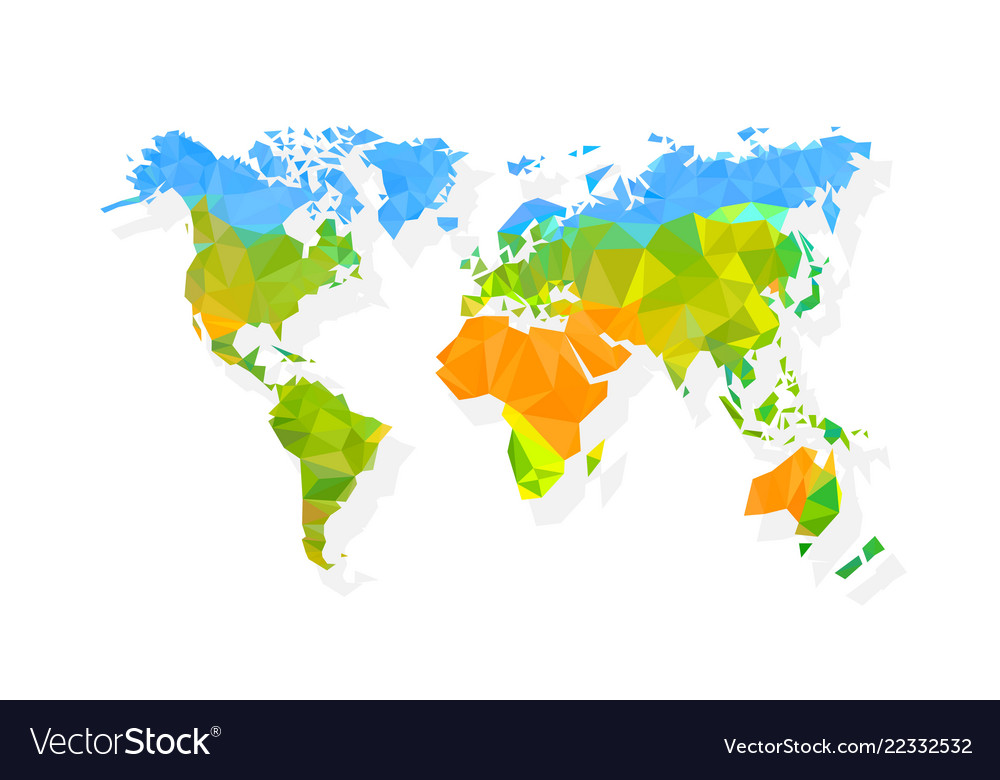 Map world polygon on a white background