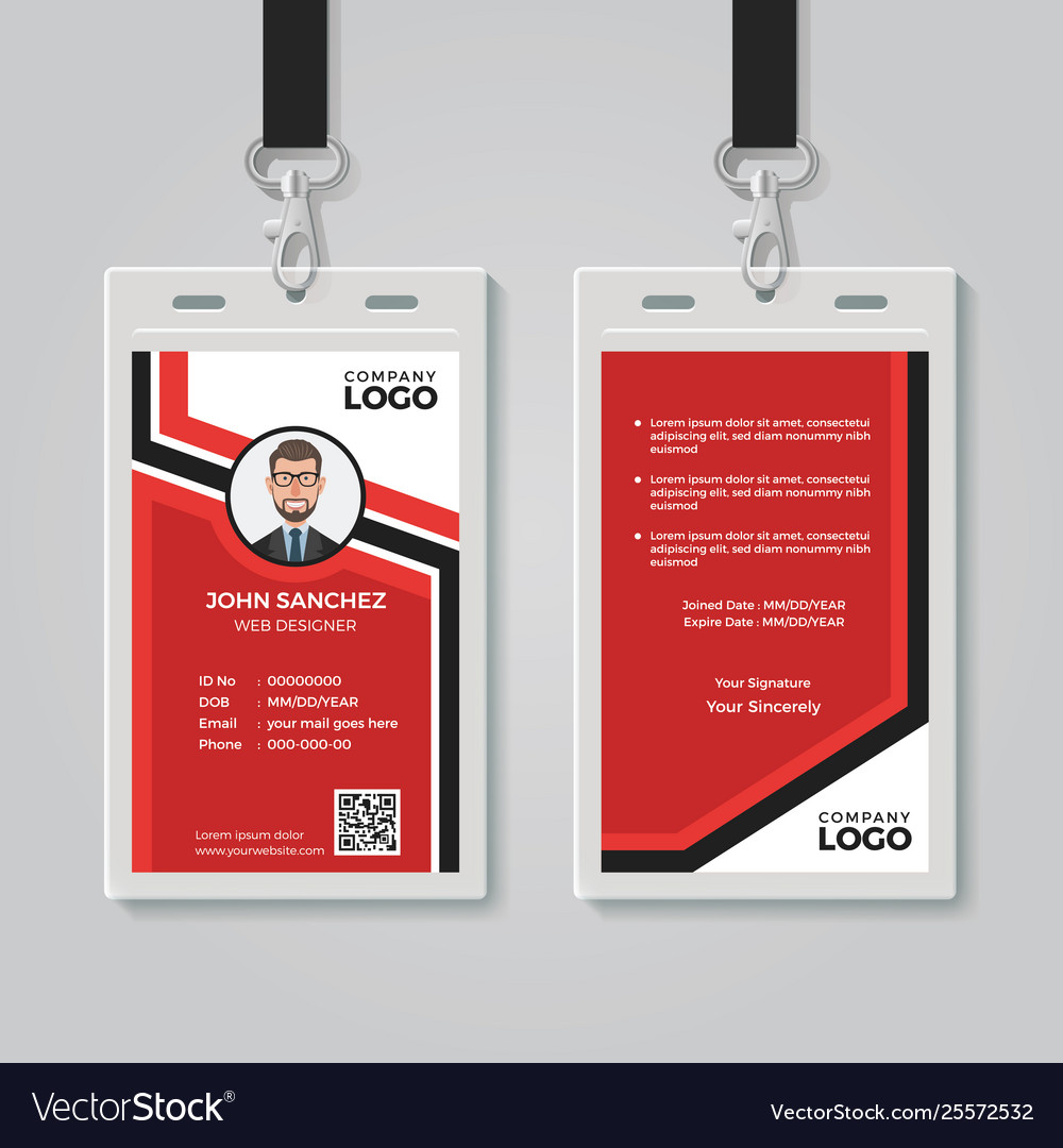 Modern red id card template Royalty Free Vector Image For Conference Id Card Template