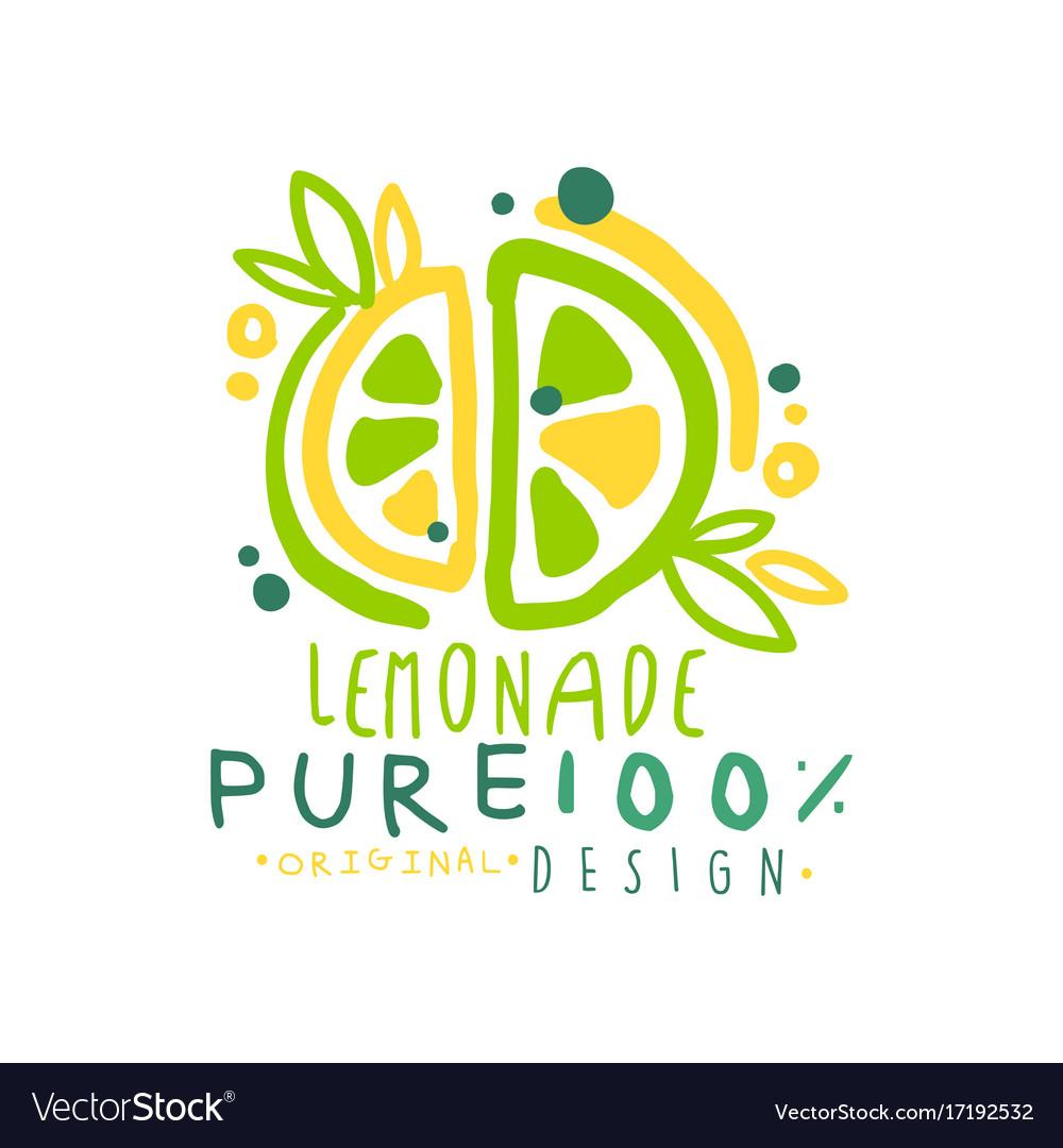 Pure lemonade 100 percent logo template original Vector Image
