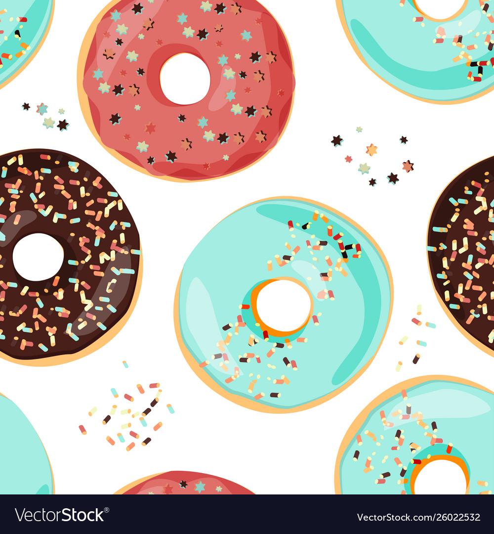 Seamless colorful donut pattern sweet cartoon
