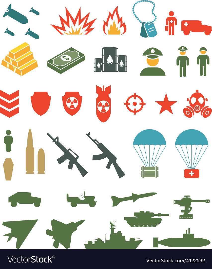 Set of flat military infographics icons