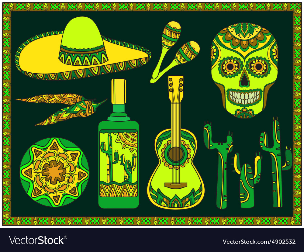 Set traditional mexican symbols