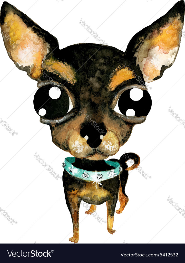 Watercolor Chihuahuas Cute Dogs Happy Dogs