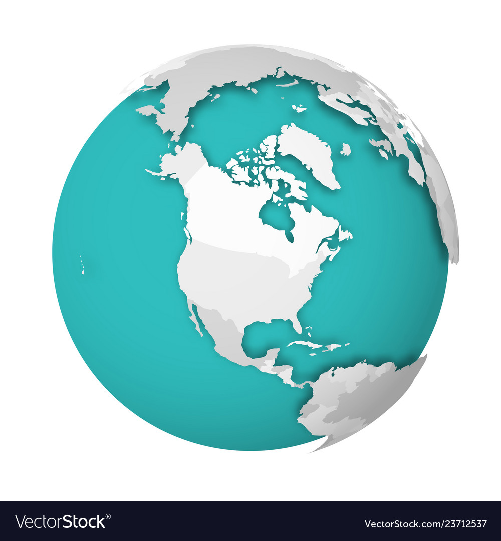 3d earth globe with blank political map dropping