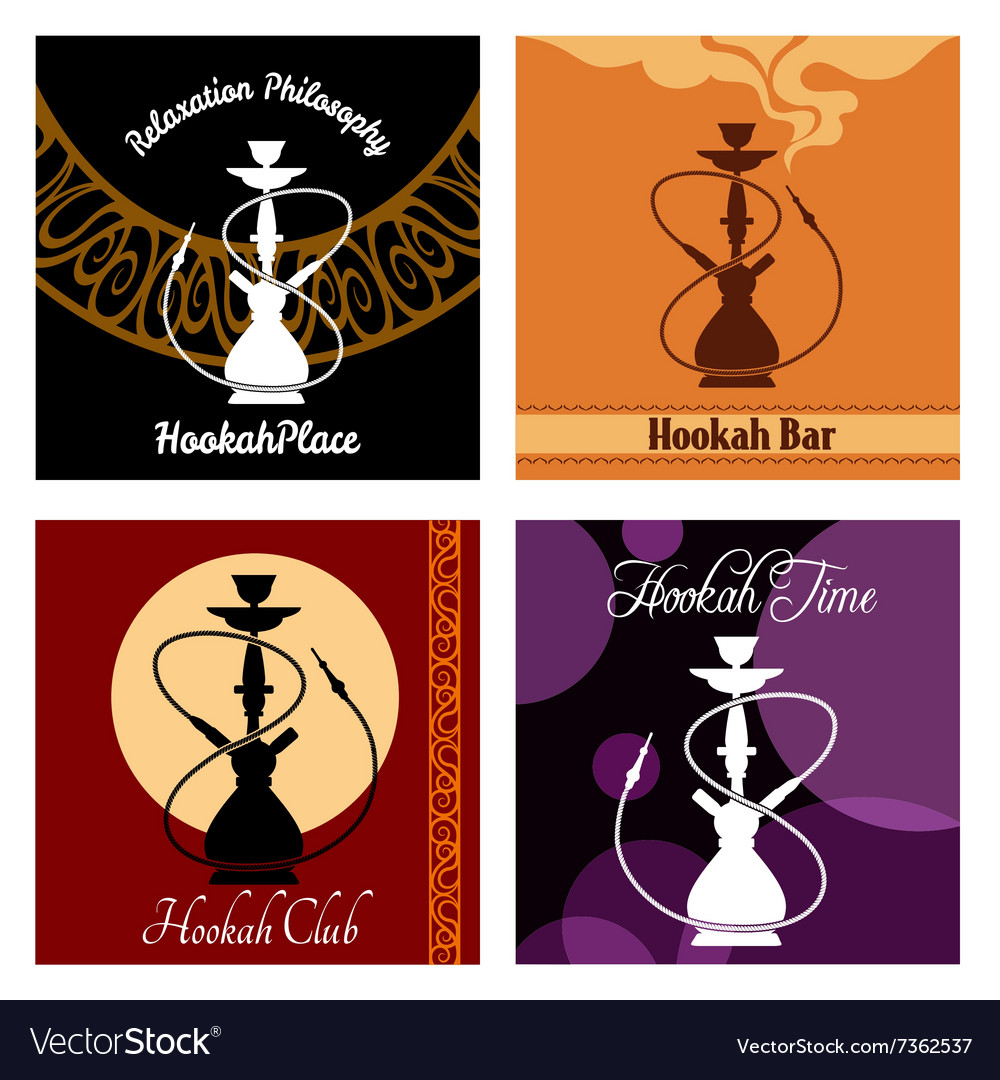Hookah bar menu poster set vector image