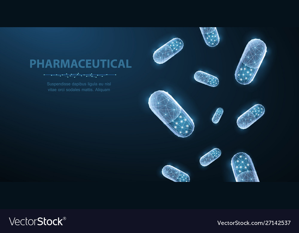 Pills abstract 3d polygonal wireframe two capsule