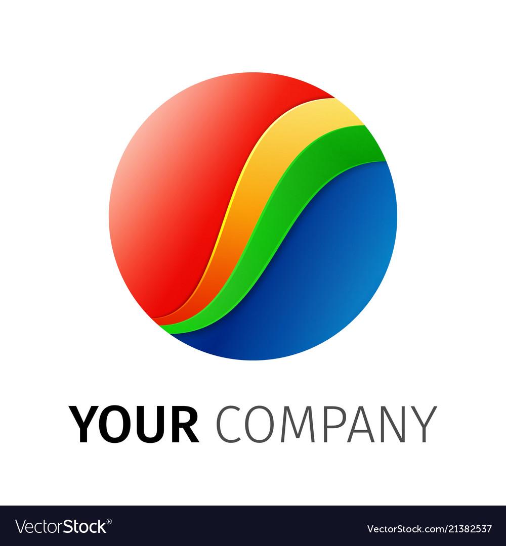 Rainbow round logo design ribbon