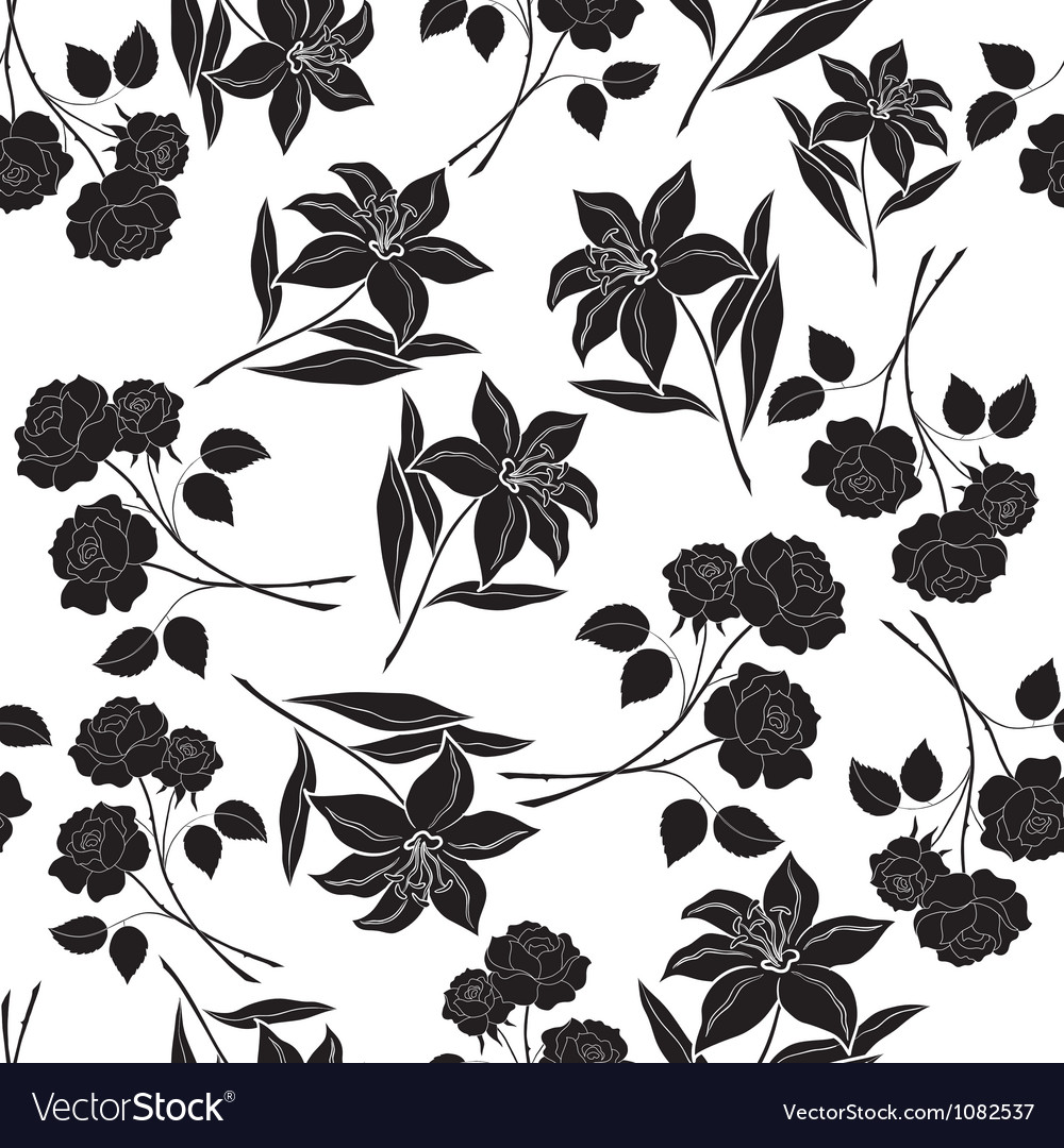 Seamless Floral Background Black Silhouettes Vector Image