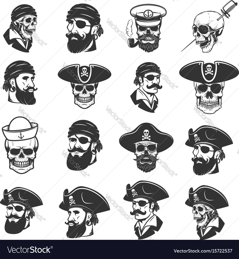Set of pirate heads and skulls design elements
