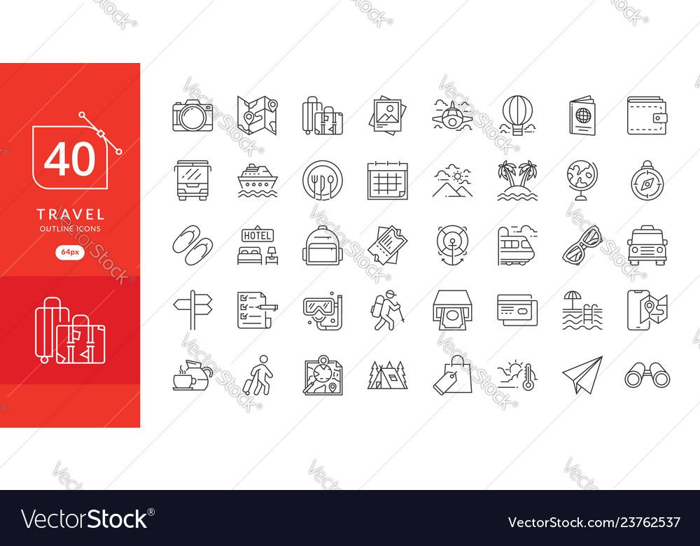 Simple travel icons set