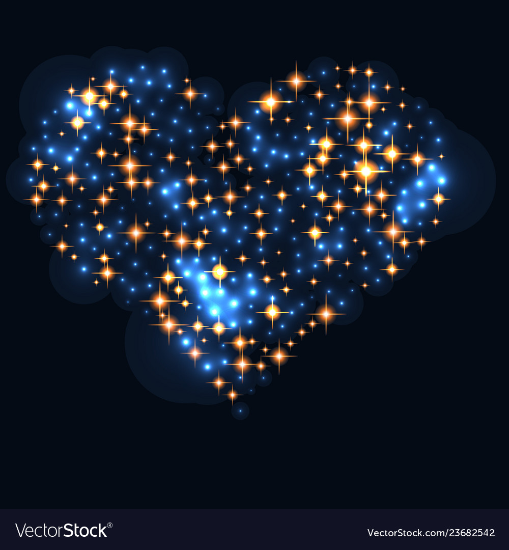 Abstract design - blue glitter particles in heart