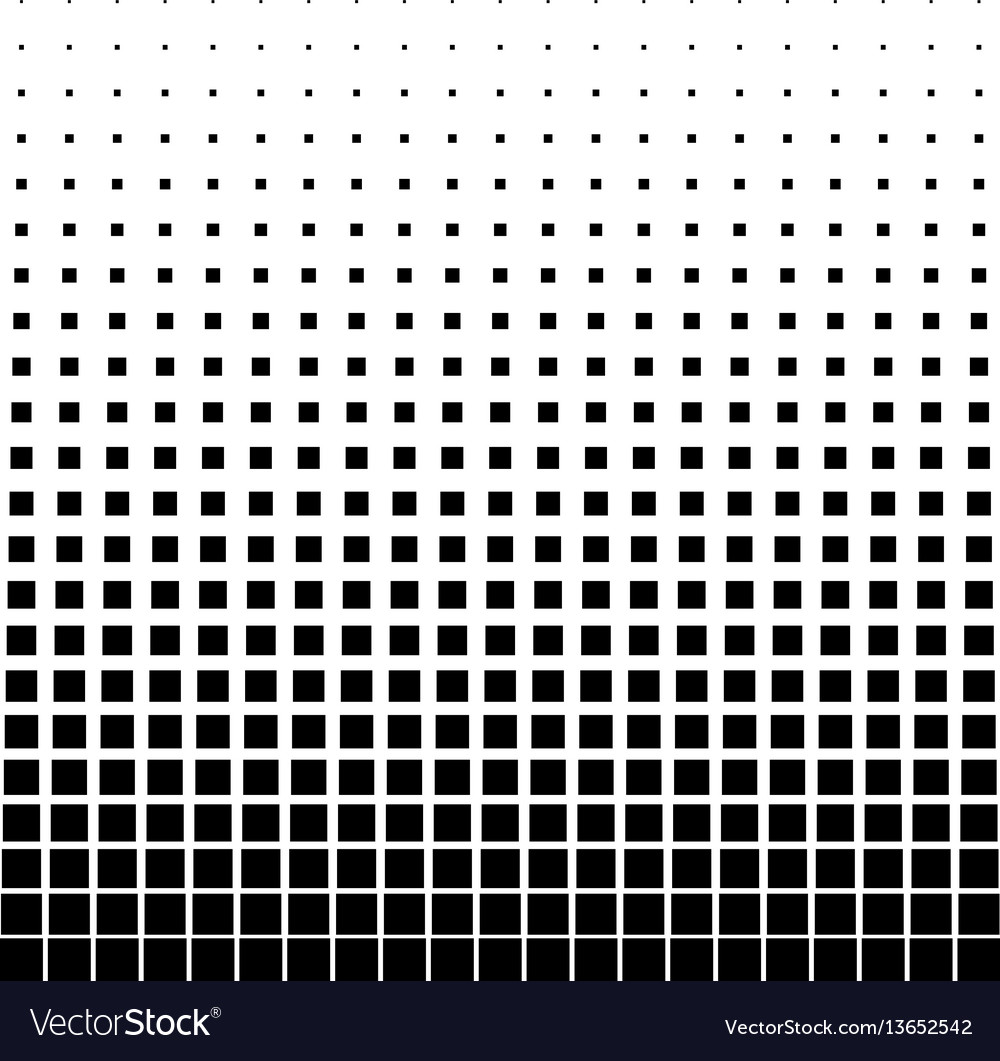 Abstract halftone black square on a white