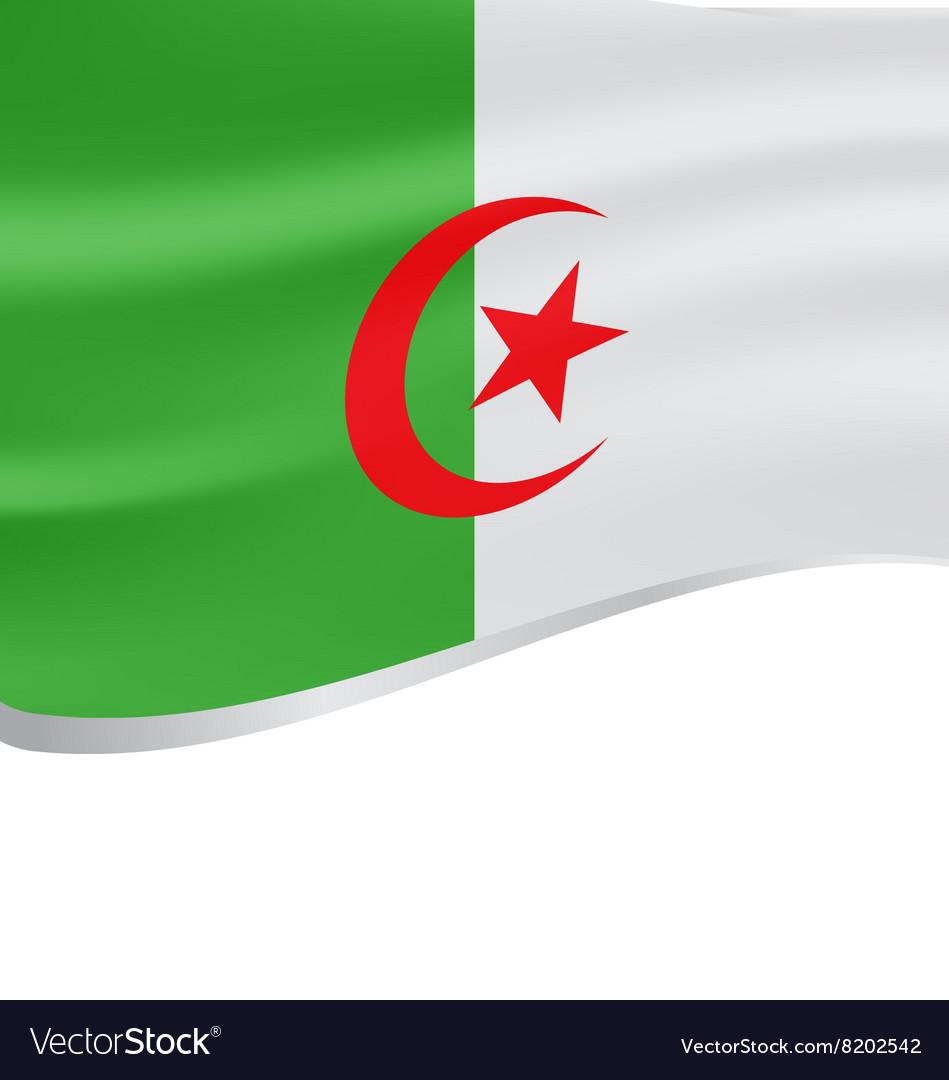 Algeria wavy flag on white background
